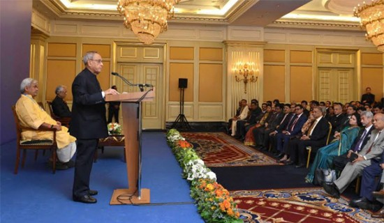 President Pranab Mukherjee attending the Indian Community Reception at the hotel Ritz-Carlton during his state visit at Moscow, Russia