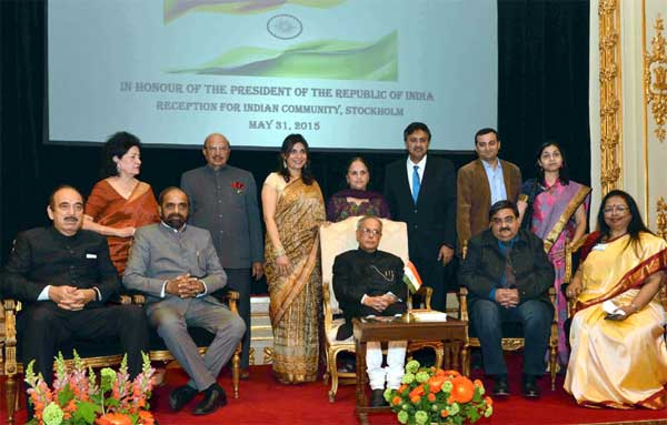 The President, Pranab Mukherjee at the Indian Community Reception hosted by the Ambassador of India to Sweden, Banashri Bose Harrison, in Stockholm, Sweden on May 31, 2015. The Minister of State for Chemicals & Fertilizers, Hansraj Gangaram Ahir and other dignitaries are also seen.
