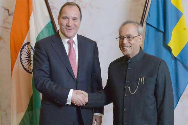 The President, Pranab Mukherjee meeting the Prime Minister of Sweden, Stefan Lofven, in Stockholm, Sweden on June 01, 2015.