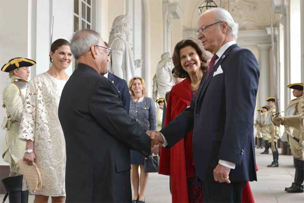 The President, Pranab Mukherjee, during the Farewell Ceremony by Their Majesties the King, Carl XVI Gustaf, Queen, Princess Victoria, at Royal Palace, Sweden on June 02, 2015.