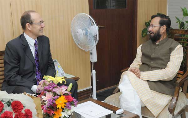 The British High Commissioner to India, James Bevan calls on the Minister of State for Environment, Forest and Climate Change (Independent Charge), Prakash Javadekar, in New Delhi on June 04, 2015.
