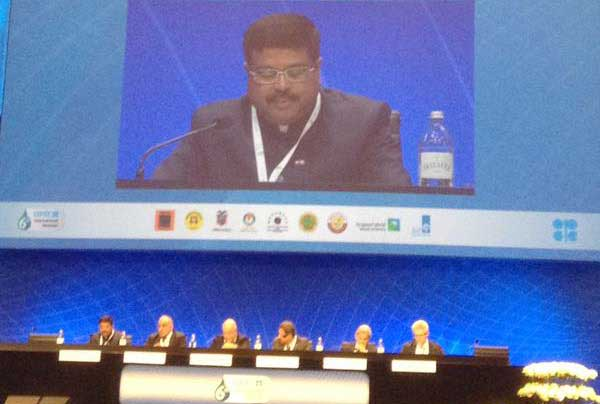 The Minister of State for Petroleum and Natural Gas (Independent Charge), Dharmendra Pradhan addressing the 6th International Seminar of OPEC on oil market stability, in Vienna on June 03, 2015.