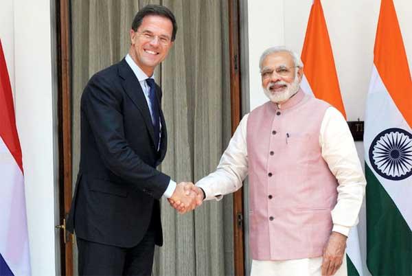 The Prime Minister, Narendra Modi meeting the Prime Minister of the Netherlands, Mark Rutte, in New Delhi on June 05, 2015.