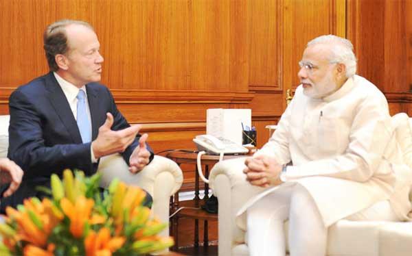 The Chairman, CISCO, John Chambers calls on the Prime Minister, Narendra Modi, in New Delhi on June 18, 2015.