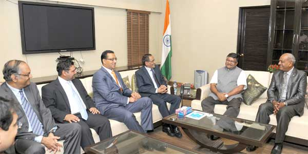 The Union Minister for Communications & Information Technology, Ravi Shankar Prasad meeting the Minister of Finance and Economic Development of the Republic of Mauritius, Vishnu Lutchmeenaraidoo, the Minister of Financial Services, Good Governance and Institutional Reforms of the Republic of Mauritius, S. Bhadain, the Attorney General of the Republic of Mauritius, R. Yerrigadoo and the Acting High Commissioner of the Republic of Mauritius in India, J. Nayeck, in New Delhi on June 17, 2015.