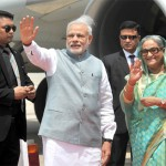 PM Narendra Modi being welcomed by the PM Bangladesh Sheikh Hasina on his arrival in Hazrat Shahjalal Airport Dhaka