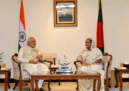 PM Narendra Modi and the PM of Bangladesh Sheikh Hasina in Dhaka, Bangladesh