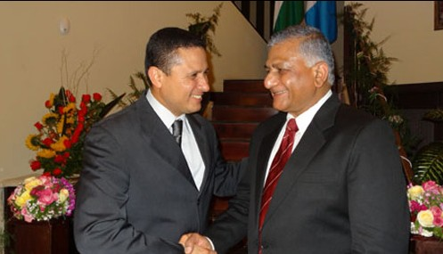 Minister of State for External Affairs meets Foreign Minister of Guatemala Ambassador Carlos Raul Morales in Guatemala