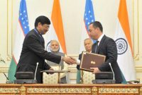 The Prime Minister, Narendra Modi and the President of Uzbekistan, Islam Karimov witnessing the signing of agreements,