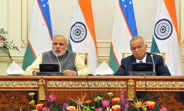 The Prime Minister, Narendra Modi giving his statement to the media during Joint Press briefing with the President of Uzbekistan, Islam Karimov, at Kuksaroy Complex, in Tashkent, Uzbekistan on July 06, 2015.