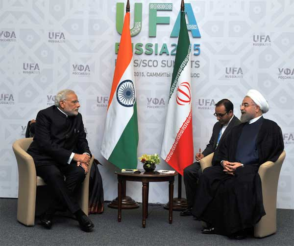 The Prime Minister, Narendra Modi in bilateral meeting with the President of the Islamic Republic of Iran, Hasan Rouhani, in Ufa, Russia on July 09, 2015.