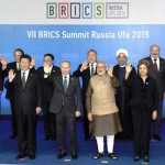 The Prime Minister, Narendra Modi in the group photographs with BRICS leaders and Leaders of the invited states, in Ufa, Russia on July 09, 2015.