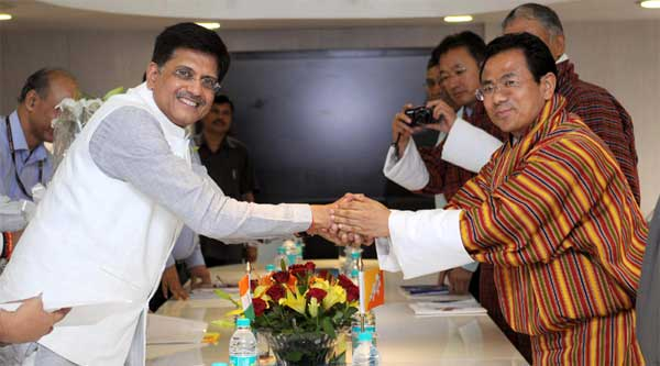 The Minister for Economic Affairs of Bhutan, Lyonpo Norbu Wangchuk calls on the Minister of State (Independent Charge) for Power, Coal and New and Renewable Energy, Piyush Goyal, in New Delhi on July 10, 2015.