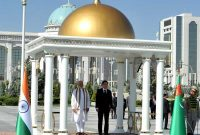 The Prime Minister, Narendra Modi with the President of Turkmenistan, Gurbanguly Berdimuhamedov at the Ceremonial Welcome