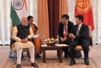 The Prime Minister, Narendra Modi meeting the Prime Minister of Kyrgyz Republic, Temir Sariyev, at Ala-Archa State Residence