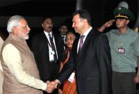The Prime Minister, Narendra Modi being welcomed by the Prime Minister of Tajikistan, Qohir Rosoulzoda,