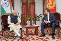 The Prime Minister, Narendra Modi meeting the Speaker of the Kyrgyz Parliament, Asylbek Jeenbekov, at Ala-Archa State Residence