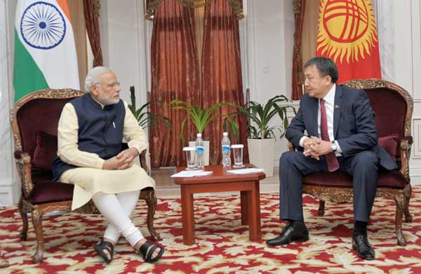 The Prime Minister, Narendra Modi meeting the Speaker of the Kyrgyz Parliament, Asylbek Jeenbekov, at Ala-Archa State Residence, in Bishkek, Kyrgyzstan on July 12, 2015.