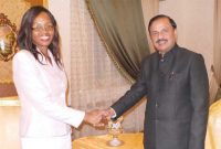 The MoS for Culture (IC), Tourism (IC) and Civil Aviation, Dr. Mahesh Sharma meeting the Foreign Minister of Swaziland, Mgwagwa Gamedze