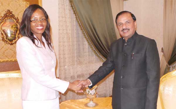 The Minister of State for Culture (Independent Charge), Tourism (Independent Charge) and Civil Aviation, Dr. Mahesh Sharma meeting the Foreign Minister of Swaziland, Mgwagwa Gamedze, at Mbabane, Swaziland on July 14, 2015.