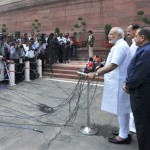 The Prime Minister, Narendra Modi interacting with the media at the start of Monsoon Session of Parliament, in New Delhi on July 21, 2015.