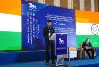 The MoS for I&B, Col. Rajyavardhan Singh Rathore addressing at the International Commemorative Conference