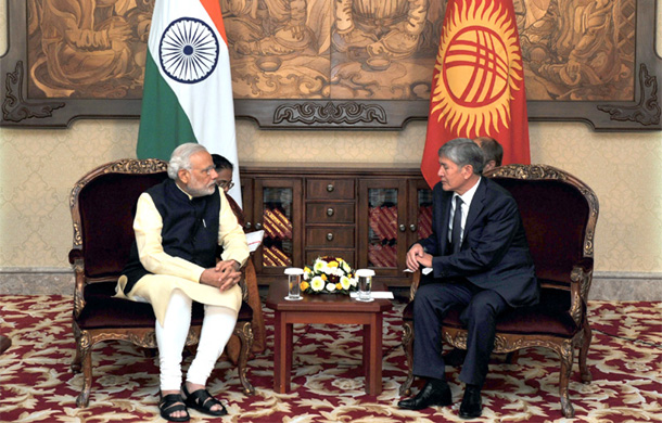 Prime Minister Narendra Modi in a restricted meeting with the President of Kyrgyz Republic, Almazbek Atambayev, at Ala-Archa State Residence, in Bishkek, Kyrgyzstan