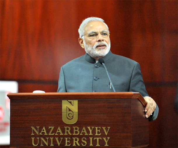 Prime Minister Narendra Modi addressing the gathering at the Nazarbayev University, in Astana, Kazakhstan