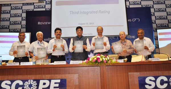 Minister of State (I/C) for Power, Coal and New Renewable Energy Piyush Goyal declared the 3rd Annual Integrated Rating for the year 2013-14 covering 40 State Distribution Utilities in a function organized at SCOPE complex on 10th Aug, 2015 in the presence of Pradeep Kumar Pujari, Secretary (Power), B. N. Sharma, Additional Secretary (Power), B. P. Pandey, Additional Secretary (Power), Dr Arun K Verma, Joint Secretary (Power), M. K. Goel, CMD, PFC, Rajeev Sharma, CMD, REC and other officials from different State Power Utilities.