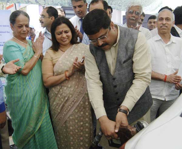 "The Minister of State for Petroleum and Natural Gas (Independent Charge), Dharmendra Pradhan launching the ""Bio Fuel Blended Diesel"" (B-V Diesel), on the occasion of the ""World Bio Fuel Day"", in New Delhi on August 10, 2015."