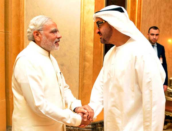 The Prime Minister, Narendra Modi with the Crown Prince of Abu Dhabi, Sheikh Mohammed bin Zayed Al Nahyan at the one to one meeting, in Abu Dhabi, UAE on August 17, 2015.