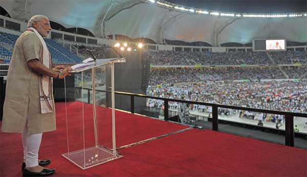 The Prime Minister, Narendra Modi addressing the gathering at the Indian Community Reception, in Dubai Cricket Stadium, UAE on August 17, 2015.