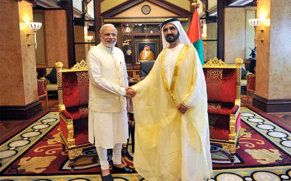 The Prime Minister, Narendra Modi meeting the Vice-President and Prime Minister of UAE, HH Mohammed bin Rashid Al Maktoum, at Za'abeel Palace, Dubai on August 17, 2015.