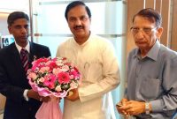 The MoS for Culture (IC), Tourism (IC) and Civil Aviation, Dr. Mahesh Sharma meeting the Minister of Art and Culture of Mauritius, S. Babu,