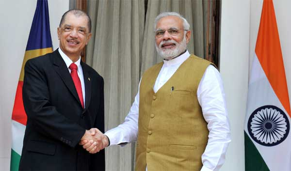 The Prime Minister, Narendra Modi meeting the President of the Republic of Seychelles, James Alix Michel, at Hyderabad House, in New Delhi on August 26, 2015.