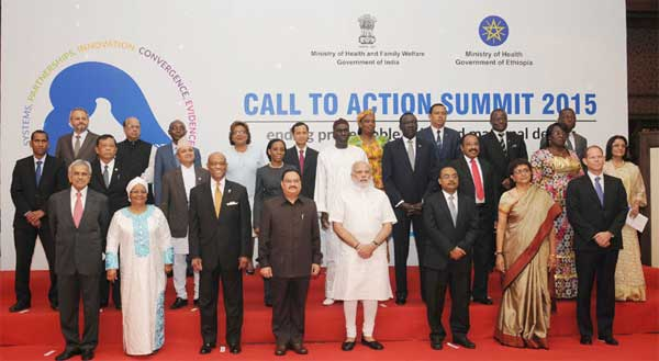 """The Prime Minister, Narendra Modi in a group photograph with the dignitaries at the Global """"Call to Action"""" Summit 2015, in New Delhi on August 27, 2015. The Union Minister for Health & Family Welfare, J.P. Nadda and the secretary, Ministry of Health and Family Welfare, B.P. Sharma are also seen."""