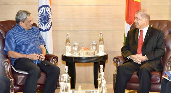The Union Minister for Defence, Manohar Parrikar calling on the President of the Republic of Seychelles, James Alix Michel, in New Delhi on August 26, 2015