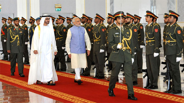 Prime Minister, Shri Narendra Modi inspecting the Guard of Honour on his arrival at Abu Dhabi on August 16, 2015. The Crown Prince of Abu Dhabi, His Highness Sheikh Mohammed bin Zayed Al Nahyan is also seen