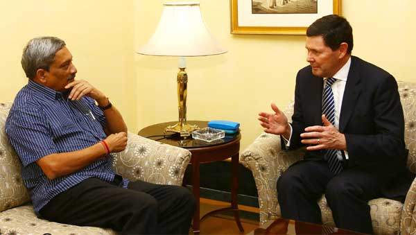 The Australian Minister of Defence, Kevin Andrews meeting the Union Minister for Defence, Manohar Parrikar, in New Delhi on September 02, 2015.