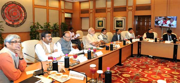 The Prime Minister, Shri Narendra Modi chairing a high-level meeting on the global economic scenario.