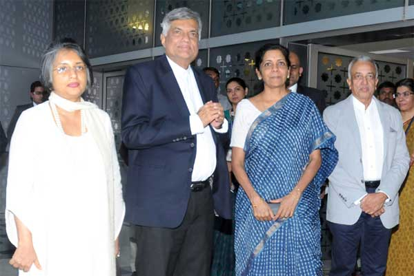 The Prime Minister of the Democratic Socialist Republic of Sri Lanka, Ranil Wickremesinghe being received by the Minister of State for Commerce & Industry (Independent Charge), Nirmala Sitharaman, on his arrival, at Indira Gandhi International Airport, in New Delhi on September 14, 2015.