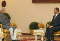 Vice President, Mohd. Hamid Ansari meeting the President of the Senate of Cambodia, Say Chhum, in Phnom Penh, Cambodia