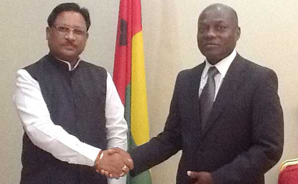 The Minister of State for Mines and Steel, Vishnu Deo Sai meeting the President of the Republic of Guinea-Bissau, Jose Mario Vaz, at Bissau on September 16, 2015.