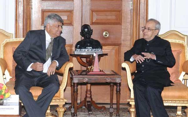 The Prime Minister of the Democratic Socialist Republic of Sri Lanka, Ranil Wickremesinghe calling on the President, Pranab Mukherjee, in New Delhi on September 16, 2015.