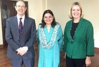 Secretary of State for Energy and Climate Change, United Kingdom, Amber Augusta Rudd meeting the Minister for Women and Child Development, Maneka Sanjay Gandhi