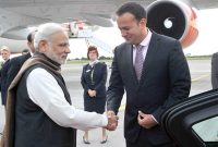 Prime Minister, Narendra Modi being received by the Health Minister of Ireland, Leo Varadkar, on his arrival at the Dublin airport