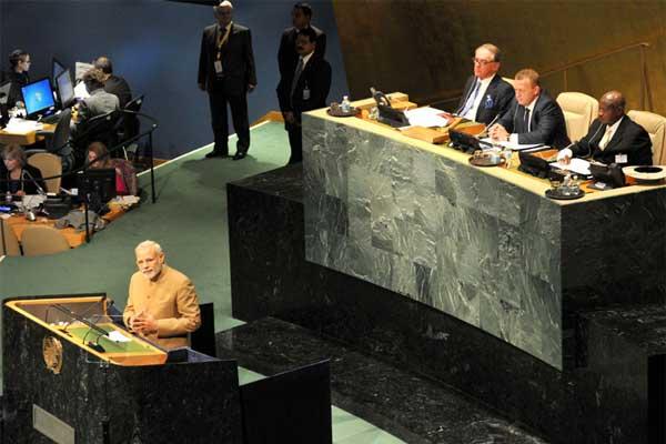 The Prime Minister, Narendra Modi addressing the United Nations Summit for the adoption of Post-2015 Development Agenda, in New York on September 25, 2015.