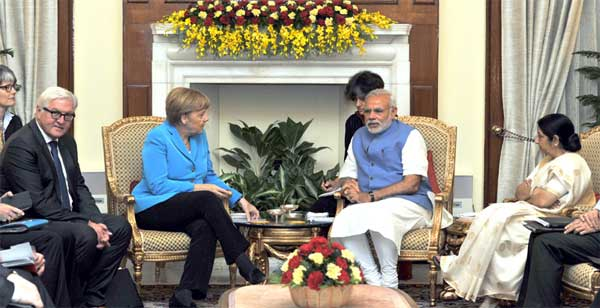 The Prime Minister, Narendra Modi in meeting with the German Chancellor, Dr. Angela Merkel, at Hyderabad House, in New Delhi on October 05, 2015. The Union Minister for External Affairs and Overseas Indian Affairs, Sushma Swaraj is also seen.