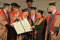 Al-Quds University conferred Honorary Doctorate on the President, Pranab Mukherjee by the Prime Minister of Palestine, Rami Hamdallah