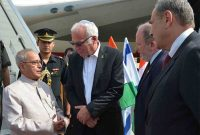President, Pranab Mukherjee being received by the Minister for Agriculture of Israel, Uri Ariel and other dignitaries,